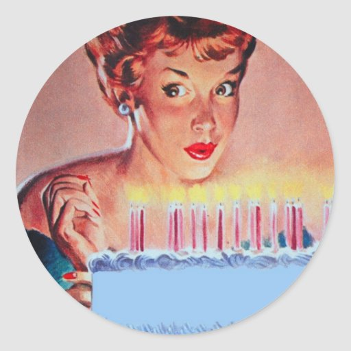 Retro 50-talfödelsedag rund klistermärke