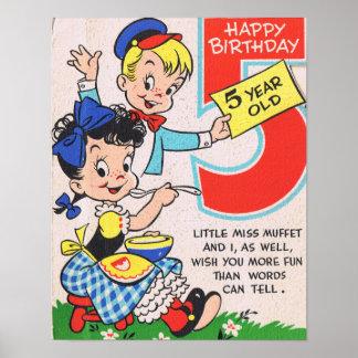 Retro 5th födelsedagkort poster
