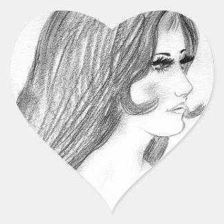 Retro 70-talbikiniflicka hjärtformat klistermärke