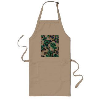 Retro abstrakt förkläde för blommakrickablåa blomm