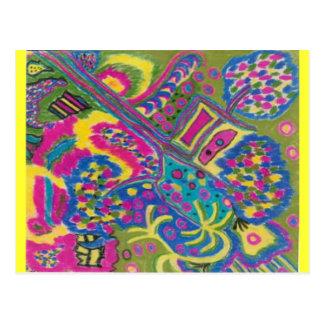 Retro abstrakt konst för Psychedelic färger som Vykort