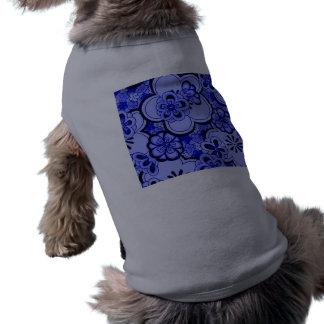 Retro abstrakt T-tröja för husdjur för blommasafir Långärmad Hundtöja