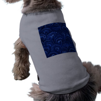 Retro abstrakt virvlar runt T-tröja för safirblått Långärmad Hundtöja