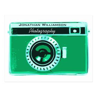 Retro affär för Seafoam grön kamerafotografi Vykort