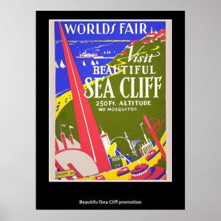 Retro affisch för vintagehavsklippa