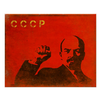 Retro affisch med det vintageLenin USSR trycket
