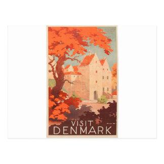 Retro affischbesök Danmark för vintage Vykort