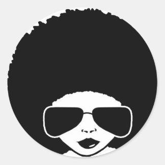 retro afro- flicka runt klistermärke