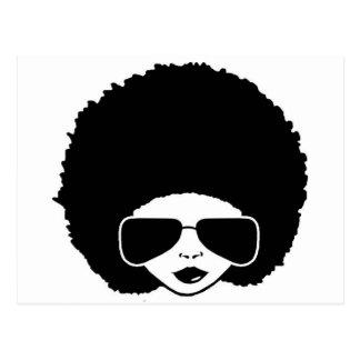 retro afro- flicka vykort