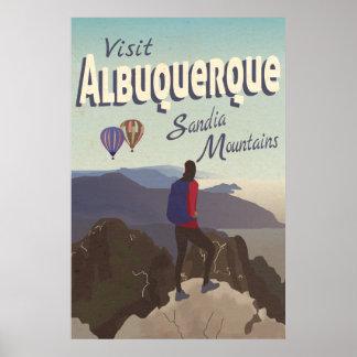 Retro Albuquerque Sandia berg reser affischen Poster