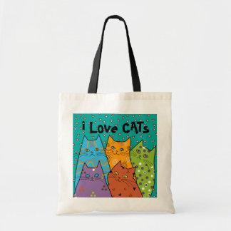 Retro älskar jag katter, budget somtotot hänger lö budget tygkasse