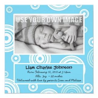 Retro Aqua cirklar babymeddelande Fyrkantigt 13,3 Cm Inbjudningskort