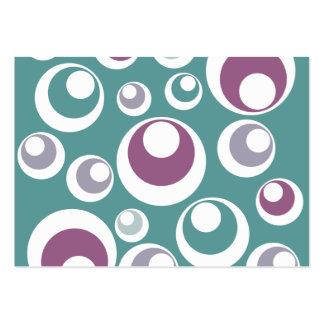 Retro Aqua och lilor cirklar pricker design Visitkort Mallar
