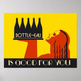 retro art déco för stil Flaska-eau Poster