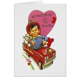 Retro avfyra valentin för kämpehettsaker kortet hälsningskort