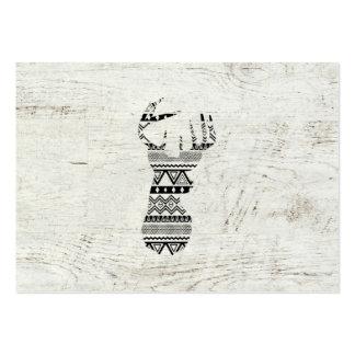 Retro Aztec trä för vintage för vit för Set Av Breda Visitkort