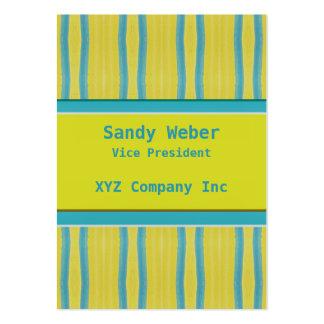 Retro bekymrad linjer för gula blått set av breda visitkort