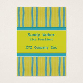 Retro bekymrad linjer för gula blått visitkort