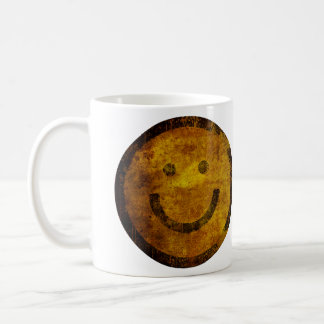 Retro bekymrad lycklig smiley facemugg kaffemugg