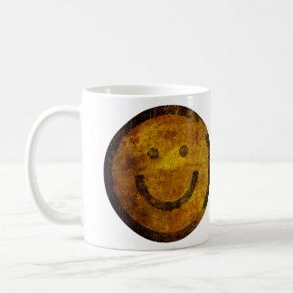 Retro bekymrad lycklig smiley facemugg vit mugg