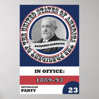 Retro Benjamin Harrison presidents- historia Poster