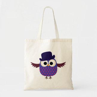 Retro beställnings- purpurfärgad uggla med hatten tygkasse