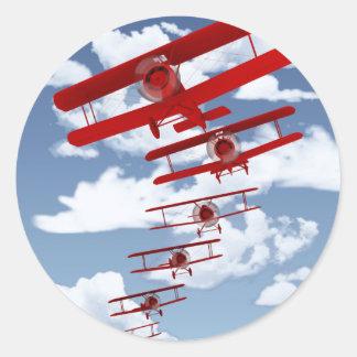 Retro Biplane Runda Klistermärken