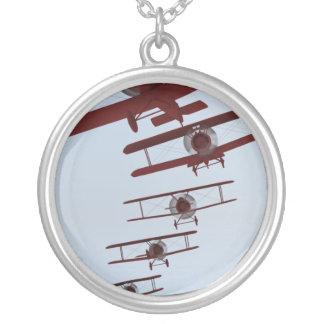 Retro Biplane Silverpläterat Halsband