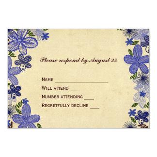 Retro blåa blommorOSA 8,9 X 12,7 Cm Inbjudningskort