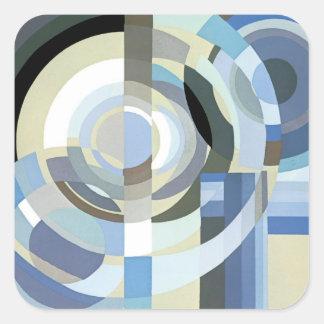 Retro blått för art décoJazzvintage cirklar Fyrkantigt Klistermärke