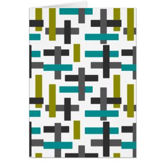 Retro blått, grönt, grå färgabstrakt hälsningskort