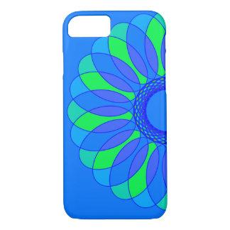 Retro blått- & gröntblomma på blått