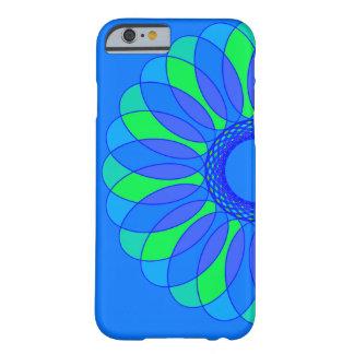 Retro blått- & gröntblomma på blått barely there iPhone 6 skal