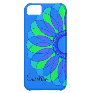 Retro blått- & gröntblomma på blått iPhone 5C fodral