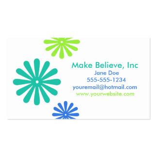 Retro blått- och gröntblommor set av standard visitkort