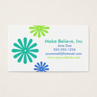 Retro blått- och gröntblommor visitkort