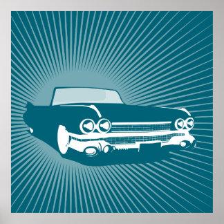 Retro blåttcabrioletillustration poster