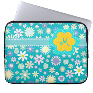 Retro blåttflower powerMonogram Laptop Fodral