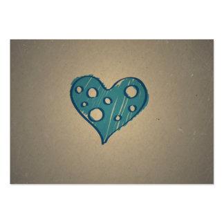 Retro blåtthjärta. Sepiavintagedesign Set Av Breda Visitkort