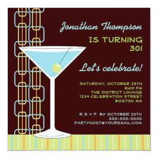 Retro blåttMartini födelsedagsfest inbjudan Fyrkantigt 13,3 Cm Inbjudningskort