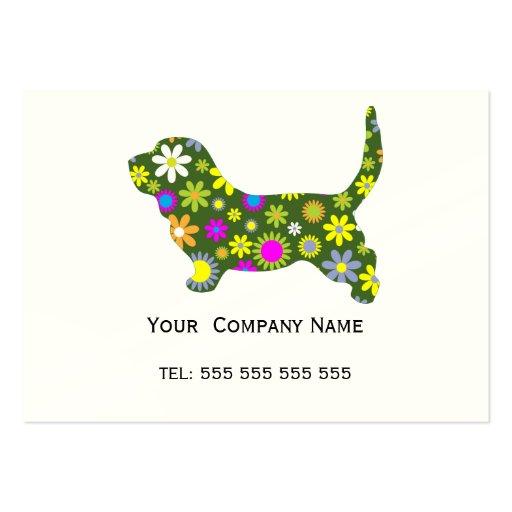 Retro blom- beställnings- visitkort för Bassethund