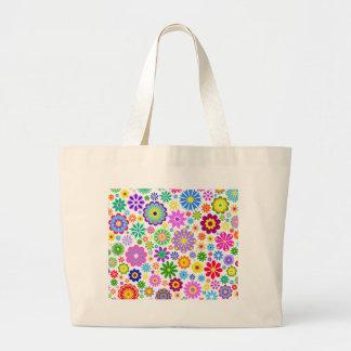 retro blom-, moderiktigt, lyckligt, färgrikt, jumbo tygkasse