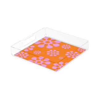 Retro blom- portionmagasin för orange och för bricka