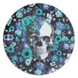 Retro blom- skalle för blått och för mint tallrik