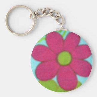 Retro blomma för 70-tal rund nyckelring