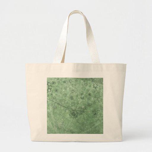 Retro blomma- och fjärilsabstrakt för Aqua Tote Bags