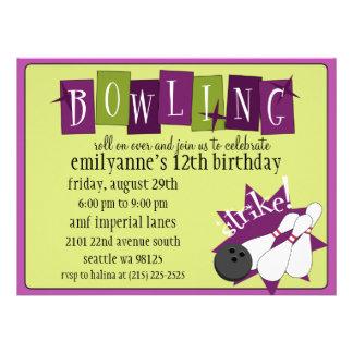 Retro bowlingfödelsedagsfest för plommon för oliv