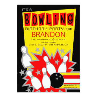 Retro bowlingfödelsedagsfest inbjudan