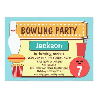 Retro bowlingfödelsedagsfest inbjudan för ungar