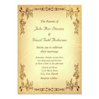Retro bröllop för vintageåldraspapper 12,7 x 17,8 cm inbjudningskort